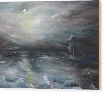 Wood Print featuring the painting Troubled Waters by Isabella F Abbie Shores FRSA