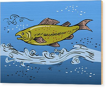 Trout Fish Swimming Underwater Wood Print by Aloysius Patrimonio