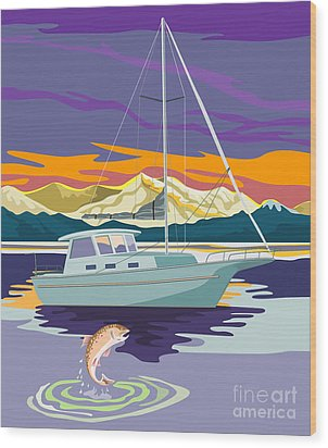 Trout Jumping Boat Wood Print by Aloysius Patrimonio