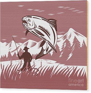Trout Jumping Fisherman Wood Print by Aloysius Patrimonio