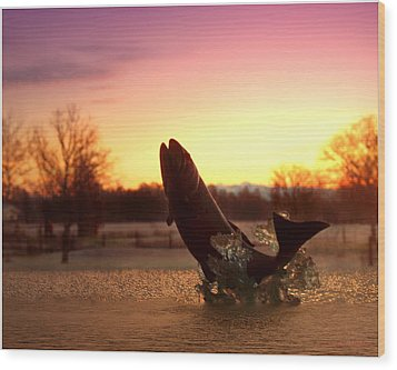 Trout Sunrise Wood Print by Joyce Dickens