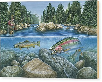 Trout View Wood Print by JQ Licensing