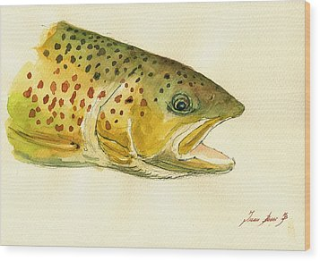 Trout Watercolor Painting Wood Print by Juan  Bosco