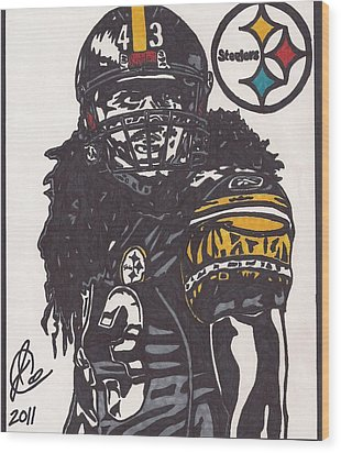Wood Print featuring the drawing Troy Polomalu 1 by Jeremiah Colley