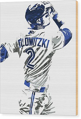 Troy Tulowitzki Toronto Blue Jays Pixel Art 2 Wood Print by Joe Hamilton