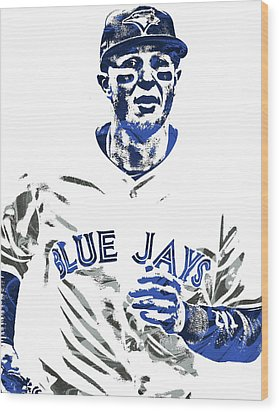 Troy Tulowitzki Toronto Blue Jays Pixel Art Wood Print by Joe Hamilton