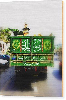 Trucking Across Lebanon Wood Print by Funkpix Photo Hunter