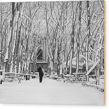 Trudging Through The Snow Wood Print by Andrew Kazmierski