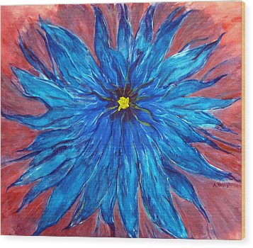 True Blue Wood Print by Arlene Holtz