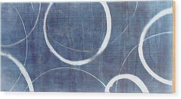 Wood Print featuring the painting True Blue Ensos by Julie Niemela