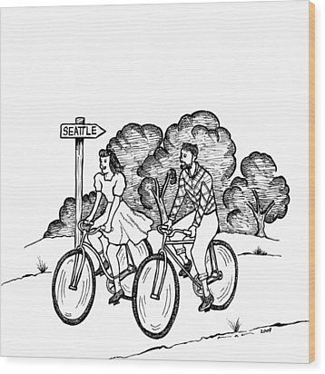 True Romance Seattle Bike Ride Wood Print by Karl Addison