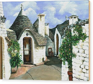 Trulli Wood Print by Sarah Farren