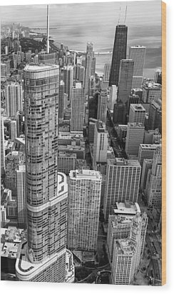 Wood Print featuring the photograph Trump Tower And John Hancock Aerial Black And White by Adam Romanowicz