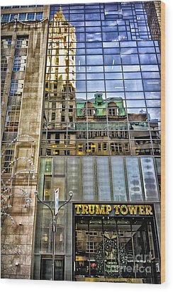 Wood Print featuring the photograph Trump Tower With Reflections by Walt Foegelle