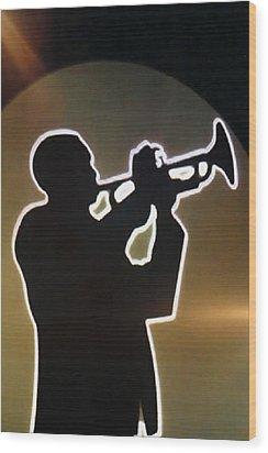 Trumpet - Classic Jazz Music All Night Long Wood Print by Christine Till