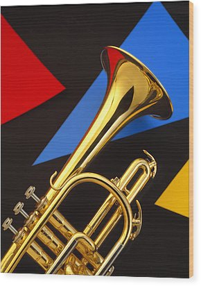 Trumpet And Triangles Wood Print by Utah Images