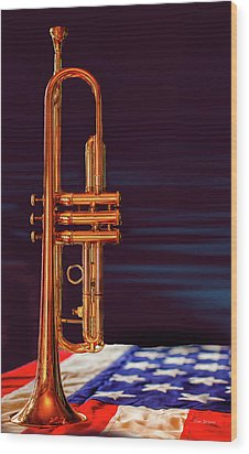 Trumpet-close Up Wood Print by Tim Bryan