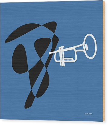 Trumpet In Blue Wood Print by David Bridburg
