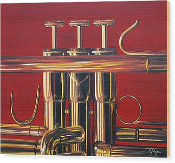 Trumpet In Red Wood Print by Emily Page