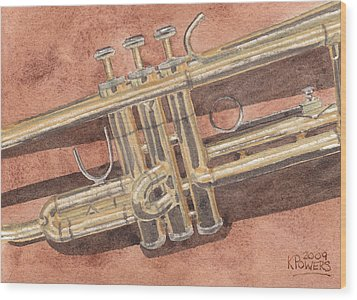 Trumpet Wood Print by Ken Powers