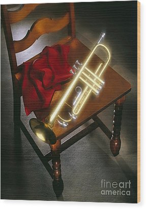 Trumpet On Chair Wood Print by Tony Cordoza