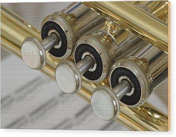 Trumpet Valves Wood Print by Frank Tschakert
