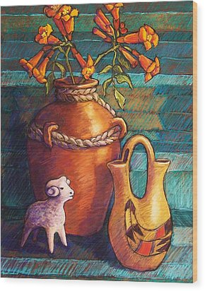 Trumpet Vines And Pottery Wood Print by Candy Mayer