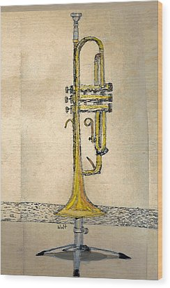 Wood Print featuring the digital art Trumpet by Walter Chamberlain