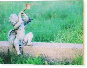 Trumpeting Cherub Wood Print by Captive Soul