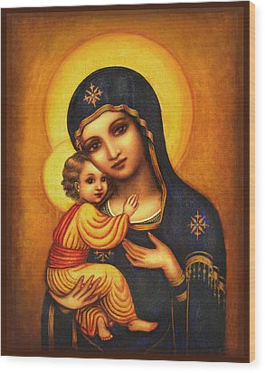 Tryptichon Madonna Wood Print by Ananda Vdovic