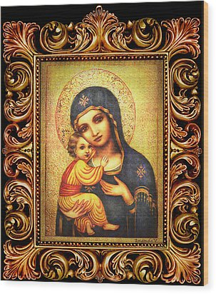 Tryptichon Madonna With Frame Wood Print by Ananda Vdovic