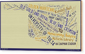 Tu Word Art University Of Tulsa Wood Print by Roberta Peake
