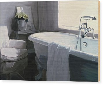 Tub In Grey Wood Print by Patti Siehien