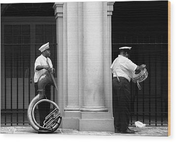 Tuba Player And Drummer Wood Print by Todd Fox