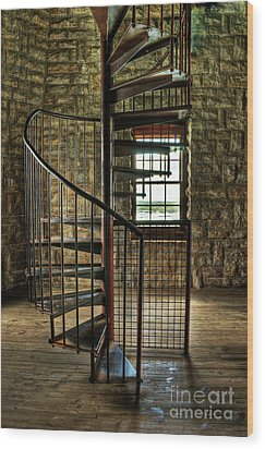 Wood Print featuring the photograph Tucker's Tower Spiral Staircase by Tamyra Ayles