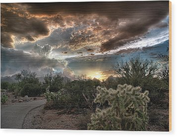 Wood Print featuring the photograph Tucson Mountain Sunset by Lynn Geoffroy
