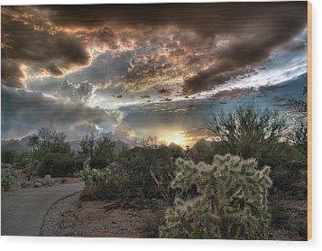 Tucson Mountain Sunset Wood Print