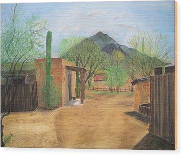Tucson Ranch Wood Print by Maris Sherwood