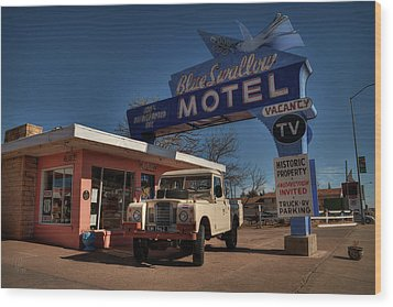 Wood Print featuring the photograph Tucumcari - Blue Swallow Motel 001 by Lance Vaughn