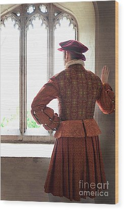 Tudor Man At The Window Wood Print