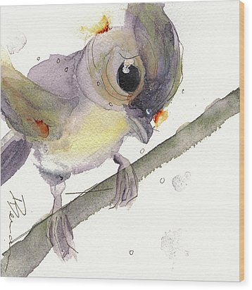 Wood Print featuring the painting Tufted Titmouse by Dawn Derman