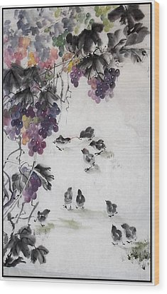 Wood Print featuring the painting Tug Of War by Ping Yan