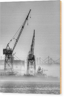 Tug With Cranes Wood Print