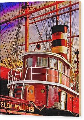 Tugboat Helen Mcallister Wood Print