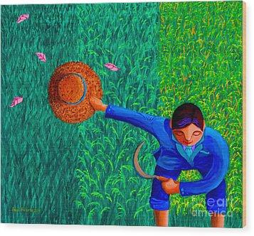 Tularan Ang Palay Wood Print by Paul Hilario