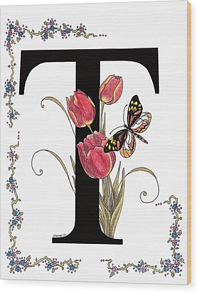 Tulip And Tiger Pierid Butterfly Wood Print