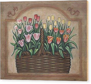 Tulip Basket Wood Print by Linda Mears