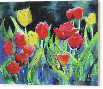 Wood Print featuring the painting Tulip Bed At Dark by Kathy Braud