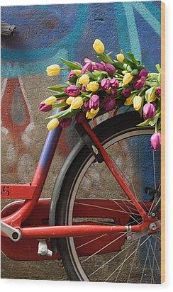 Tulip Bike Wood Print by Phyllis Peterson