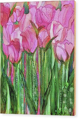 Wood Print featuring the mixed media Tulip Bloomies 1 - Pink by Carol Cavalaris